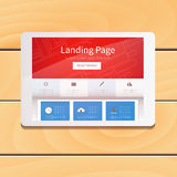 Digital tablet computer touch pad device with Landing Page scr. Een on wooden table background, 3d render  illustration Royalty Free Stock Image