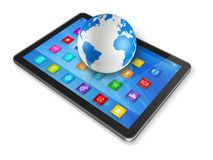 Digital Tablet Computer and World Globe Stock Photography