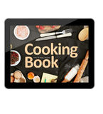 Digital tablet cooking book Stock Photos