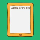 Digital tablet. Doodle style Stock Images