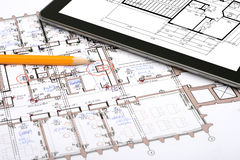 Digital tablet on draft Stock Photography