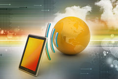 Digital tablet with earth, and symbol wi-fi Stock Photos