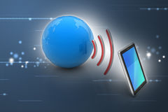 Digital tablet with earth, and symbol wi-fi Royalty Free Stock Image