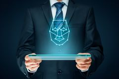 Face detection. Digital tablet face detection concept. Facial recognition protection and security Royalty Free Stock Images