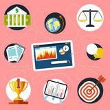 Digital tablet with finance and analysis icons Stock Photos
