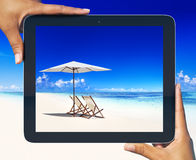Digital Tablet Frame Tropical Beach Concept Stock Photos