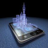 Digital tablet and futuristic town Royalty Free Stock Images