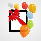 Digital Tablet Gift Vector Illustration with Royalty Free Stock Images
