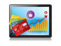 Digital tablet and growth chart with a credit card. For payment Royalty Free Stock Images