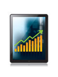 Digital tablet and growth chart. On white background Stock Image