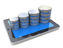 Digital tablet and growth of database on the white background Royalty Free Stock Image