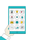 Digital tablet in hand with line apps icons vector illustration