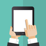 Digital tablet with hands flat illustration. Flat design style vector illustration concept of businessman hands holding modern digital tablet and pointing on a Stock Image