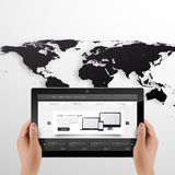 Digital Tablet And Hands Vector Photorealistic Illustration. EPS 10 Stock Photos