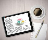 Digital tablet with info graphics and a cup of coffee Royalty Free Stock Photography