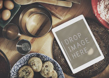 Digital Tablet Kitchen Bakery Cookies Copy Space Concept Stock Photography