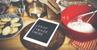 Digital Tablet Kitchen Bakery Cookies Copy Space Concept Royalty Free Stock Photography