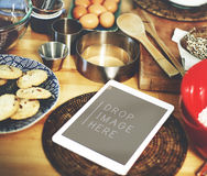 Digital Tablet Kitchen Bakery Cookies Copy Space Concept Stock Photos