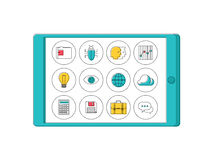Digital tablet with line apps icons Stock Photo