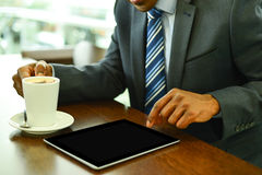 Digital tablet, made my job easy. Royalty Free Stock Image