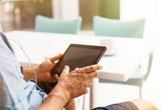 Digital tablet in man hands Stock Photography