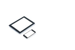 Digital tablet and mobilephone. Against white background Royalty Free Stock Photography