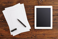 Digital Tablet and Note Paper Stock Photography