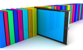 Digital tablet pc. And book. 3D render Royalty Free Stock Image