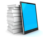 Digital tablet pc. And book. 3D render Royalty Free Stock Photo