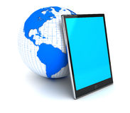 Digital tablet pc. And planet. 3D render Royalty Free Stock Images