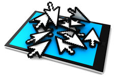 Digital tablet pc. And cursor. 3D render Stock Photo