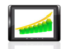 Digital tablet PC. On a white background shows graphically growth of success Stock Photography