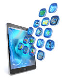 Digital tablet PC 3d applications Stock Images