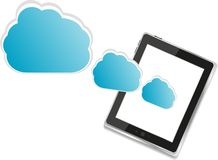 Digital tablet pc and abstract blue cloud Royalty Free Stock Photography