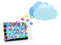 Digital tablet pc with app icons Stock Photography