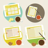Digital tablet pc on business desk with screen. Digital tablet pc on business desk with blank screen.Vector illustration Stock Photography