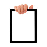 Digital tablet pc with businessman hand. Royalty Free Stock Images