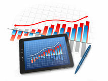Digital tablet pc with financial chart and graph. 3d Royalty Free Stock Photos