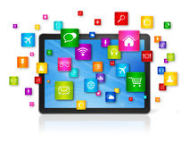 Digital Tablet pc and flying apps icons Royalty Free Stock Photo