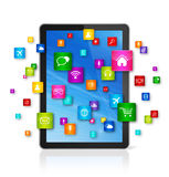 Digital Tablet pc and flying apps icons Royalty Free Stock Photos