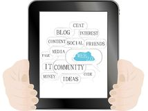 Digital tablet pc in hands over white background Royalty Free Stock Photo