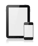 Digital Tablet PC With Mobile Smart Phone Isolated. Modern digital tablet PC with mobile smartphone isolated on white. Include clipping path for tablet and phone Royalty Free Stock Photo