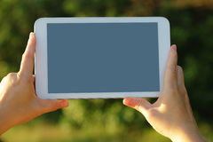 Digital tablet pc in nature Stock Photography