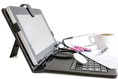 Digital tablet pc, pills and stethoscope, health concept Royalty Free Stock Photos