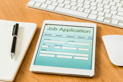 Digital tablet pc showing job application form Stock Photos