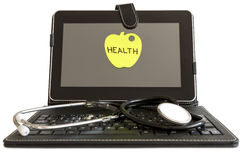 Digital tablet pc and stethoscope, health concept royalty free stock images
