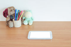 Digital tablet pc on table Royalty Free Stock Photos