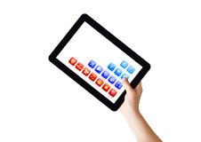 Digital Tablet in right hand. Hand holding Tablet PC under 45 degree angle, with abstract applications, isolated on white, clipping path Stock Images