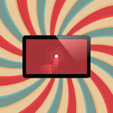 Digital tablet with shiny sensor screen with touch hand. Electronic smart device Stock Photo