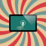 Digital tablet with shiny sensor screen with touch hand. Electronic smart device Royalty Free Stock Photos